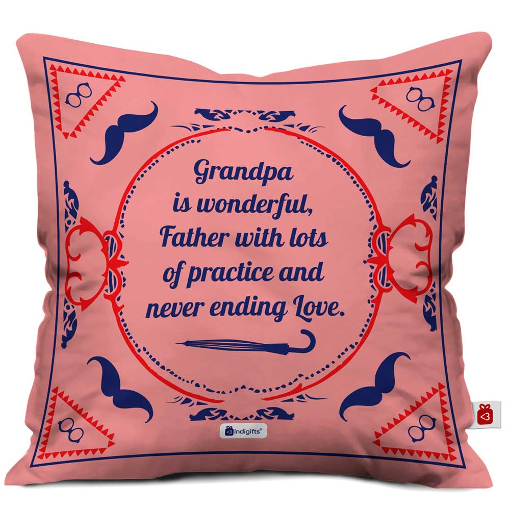 IndigiftsGrandpa is Wonderful Quote Vintage Classical Design Print Pink Cushion Cover