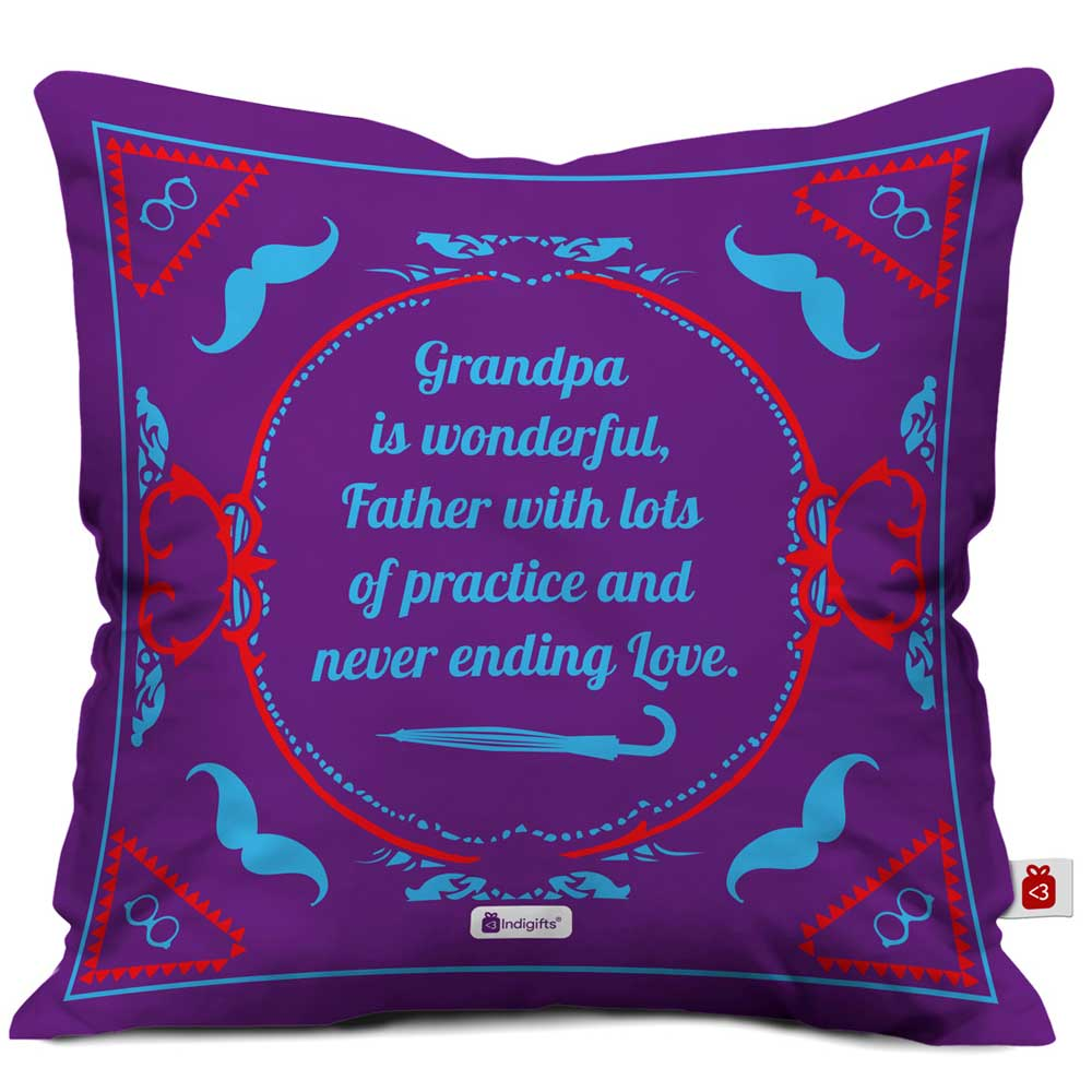 IndigiftsGrandpa is Wonderful Quote Vintage Classical Design Print Purple Cushion Cover