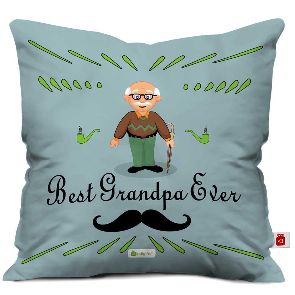 IndigiftsBest Grandpa Ever Quote Comic Folk Style Grey Cushion Cover