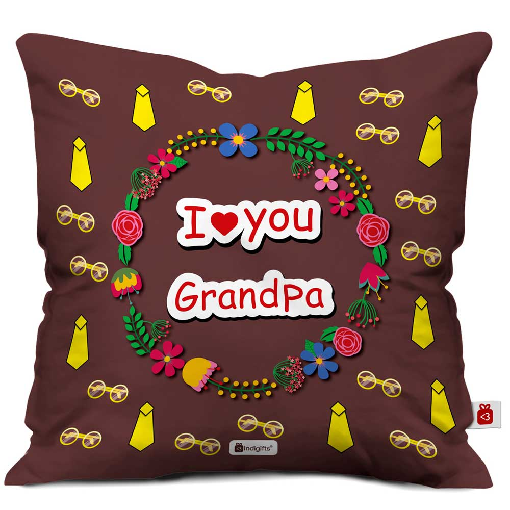 I Love You Grandpa Quote Seamless Tie Pattern Brown Cushion Cover