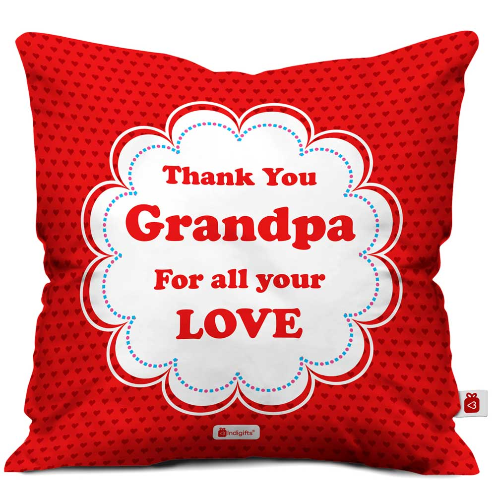 Thank You Grandpa Quote Seamless Heart Pattern Print Red Cushion Cover