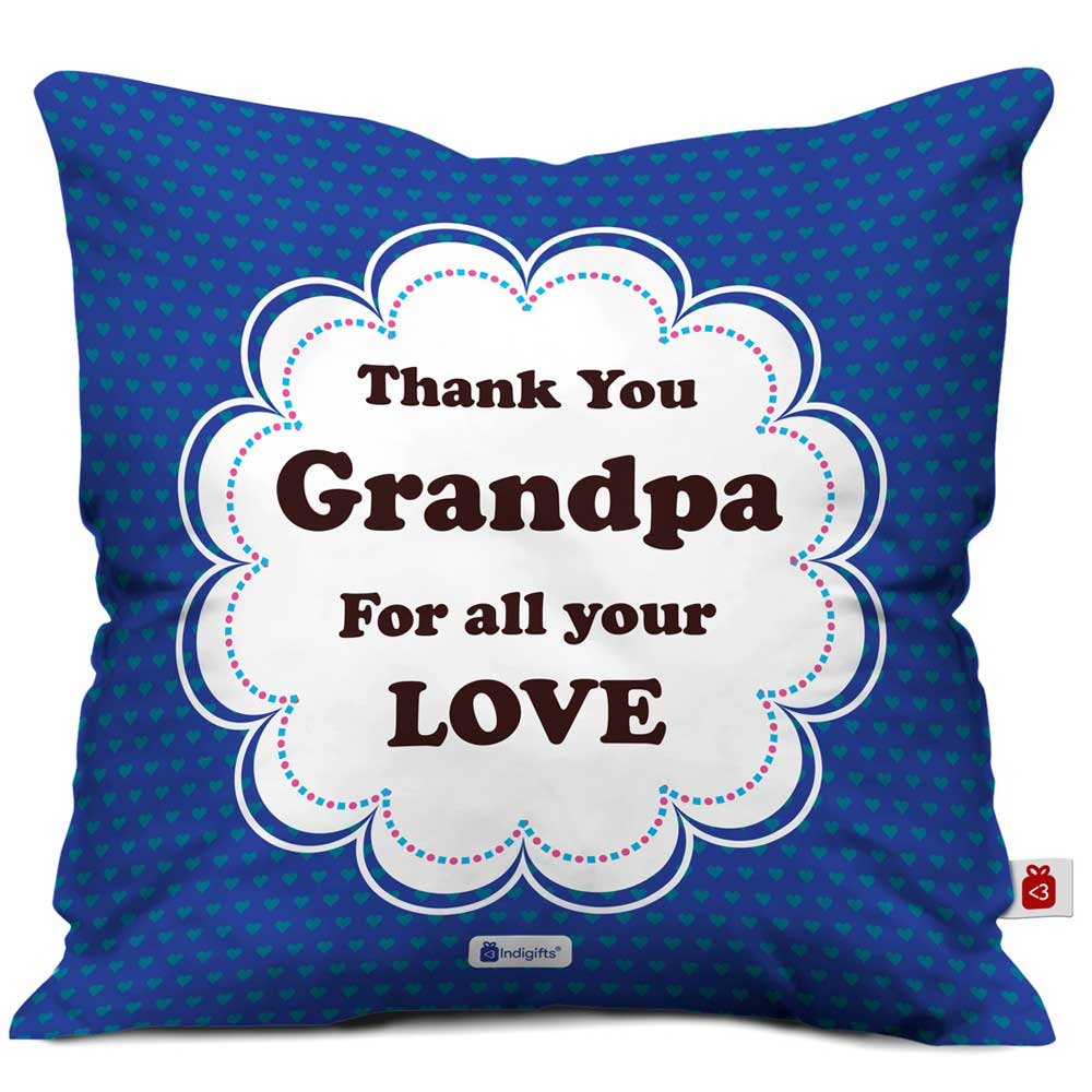 Thank You Grandpa Quote Seamless Heart Pattern Print Blue Cushion Cover