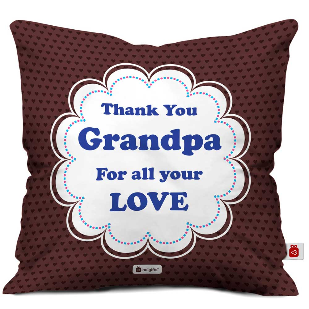 Thank You Grandpa Quote Seamless Heart Pattern Print Brown Cushion Cover