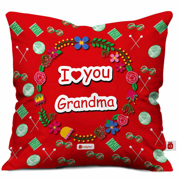 I Love You Grandma  Printed Red Cushion Cover