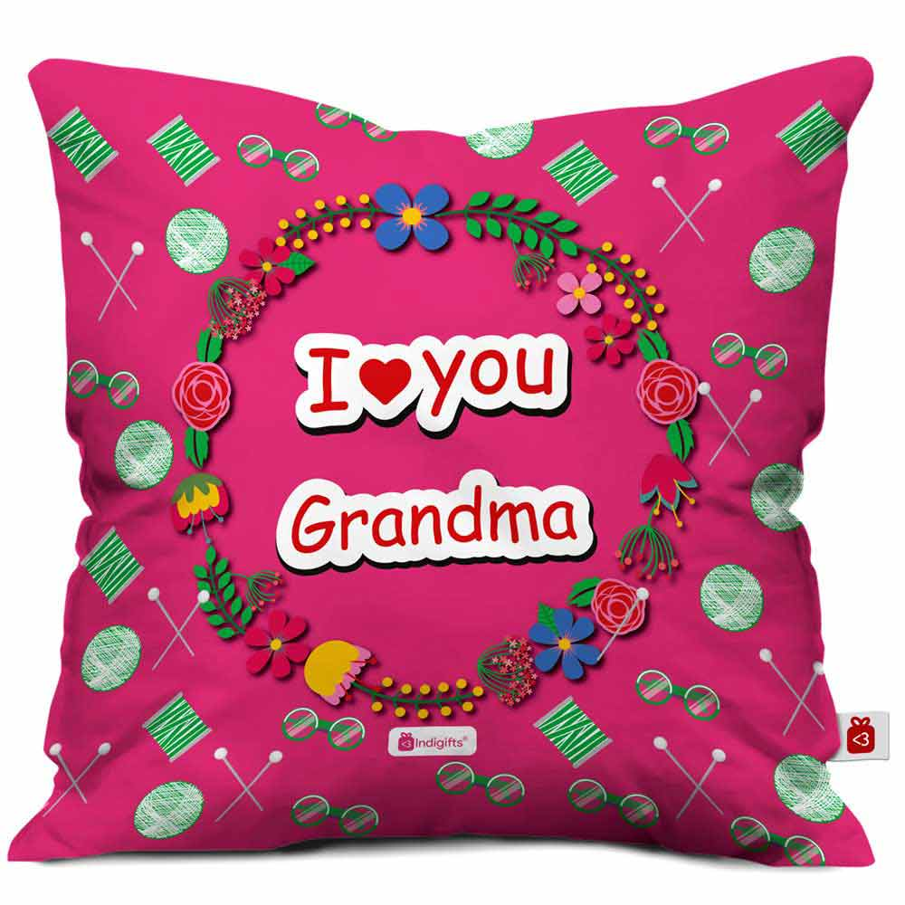 I Love You Grandma  Colorful Pink Cushion Cover
