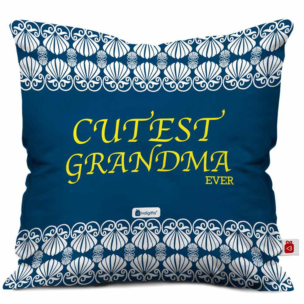 Indigifts Cutest Grandma Ever Beautiful Blue Cushion Cover