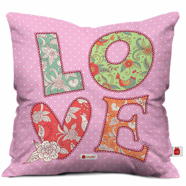 LOVE Quote Colourful Hand Drawn Textile Font. Patchwork Style Pink Cushion Cover