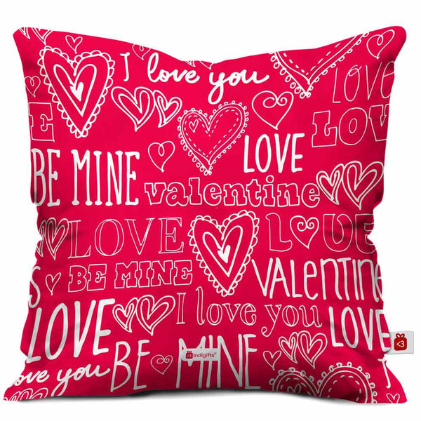 IndigiftsBe Mine Valentine I love You Quote Love Expression Seamless Pattern Be Mine Valentine Pink Cushion Cover