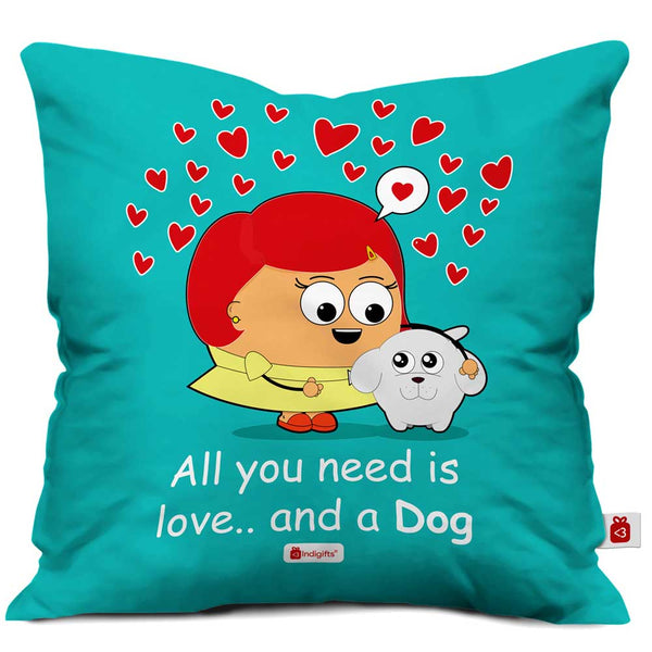 You Need Love Quote Unconditional Pet Love, Girl & Dog Illustration Blue Cushion Cover