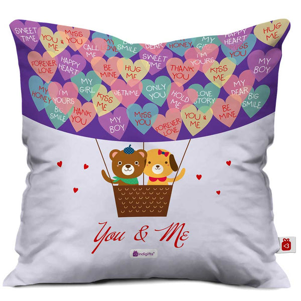 Indigifts Teddy Bear Couple You & Me Quote Colourful Hearts Multi Cushion Cover