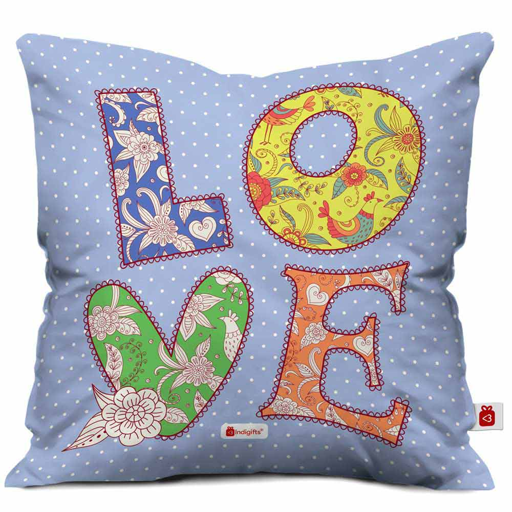 LOVE Quote Colourful Hand Drawn Textile Font. Patchwork Style Blue Cushion Cover