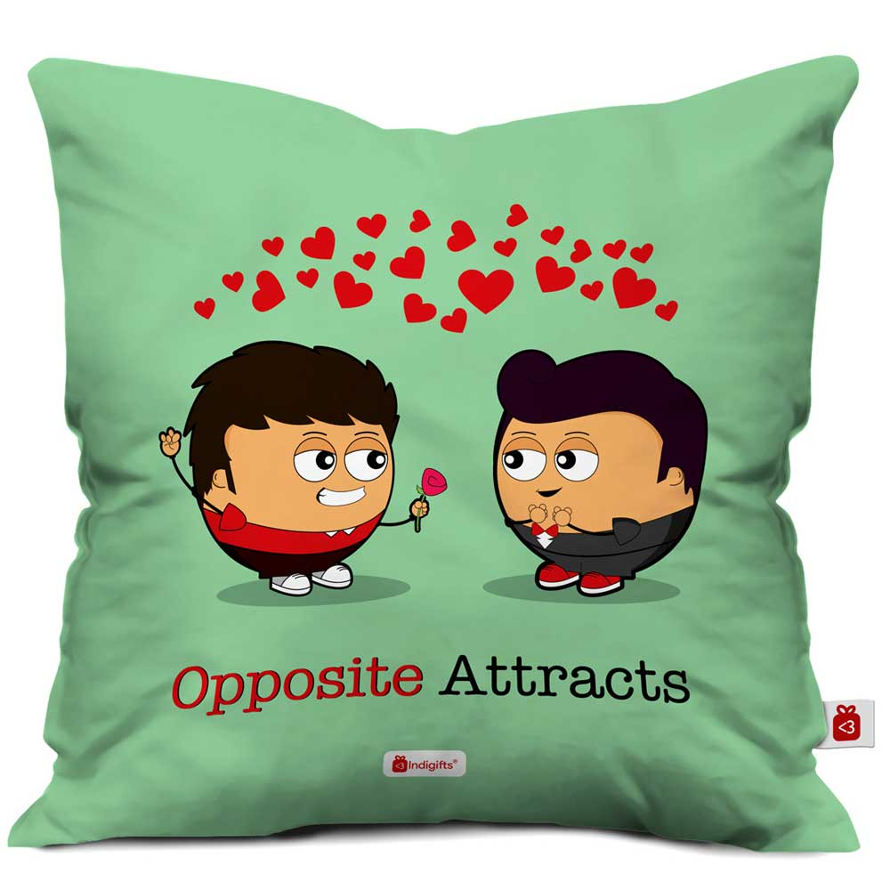 Valentine Proposal By Boys In Love Green Cushion Cover