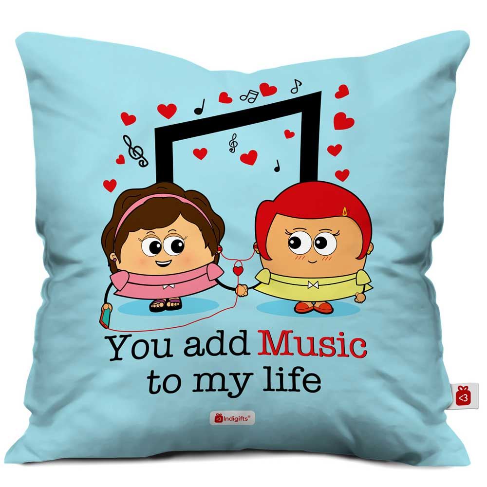 Indigifts Cute Girls Enjoying Together Blue Cushion Cover
