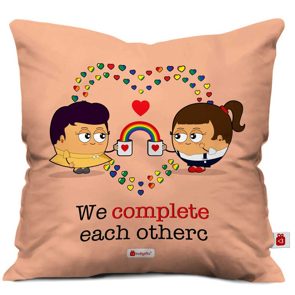 Indigifts Girls Bond Pink Cushion Cover