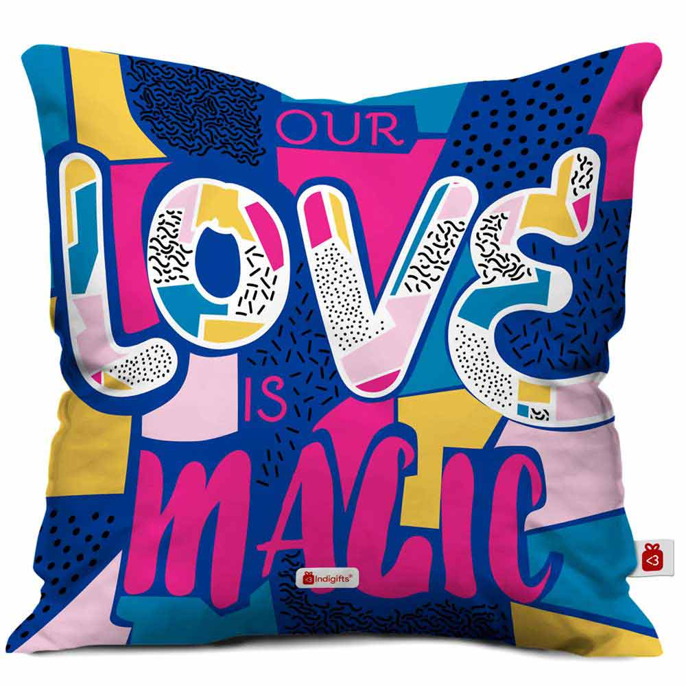 Our Love Is Magic Quote Bright Colourful Illustration Multi Cushion Cover