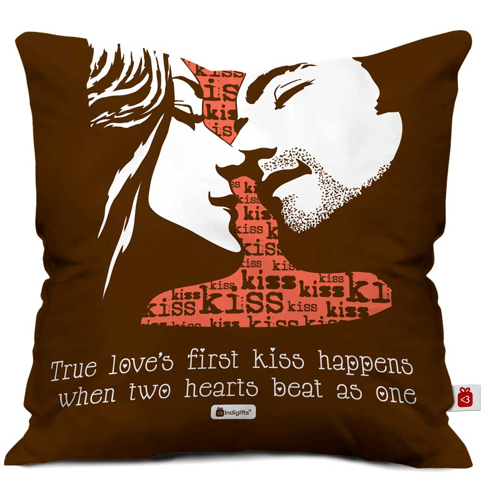 True Love Happens When Two Hearts Beat As One Quote First Kiss Of A Young Couple Illustration Brown Cushion Cover