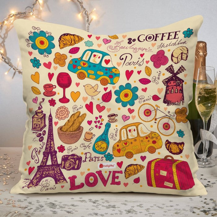 Paris Coffee Love Quote Love Date Party Elements Car Eiffel Tower Drinks Paris Beige Cushion Cover