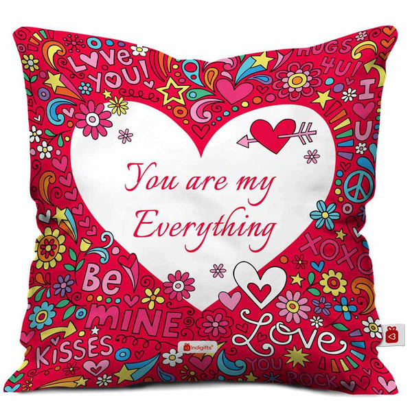 You are my Everything Quote Love Doodle with Flowers Love Words Hearts Stars Pink Cushion Cover