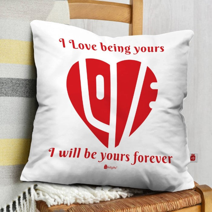Indigifts Love Enclosed in Heart White Cushion Cover