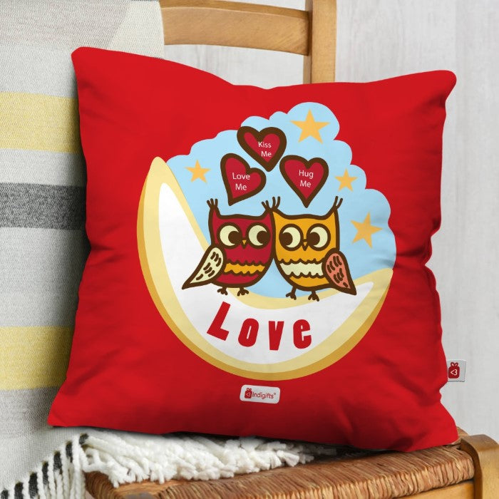 Indigifts Romantic Owl Couple Sitting On Moon Red Cushion Cover