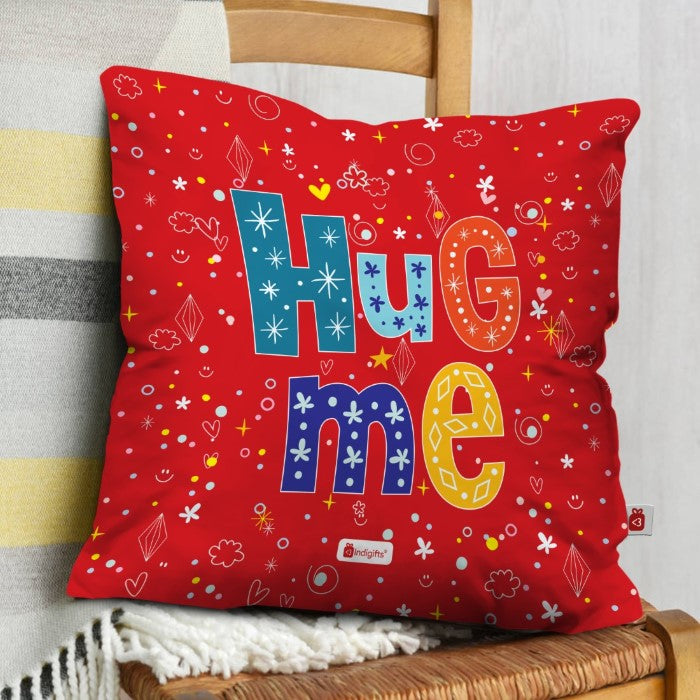Indigifts Hug Me Quote Red Cushion Cover