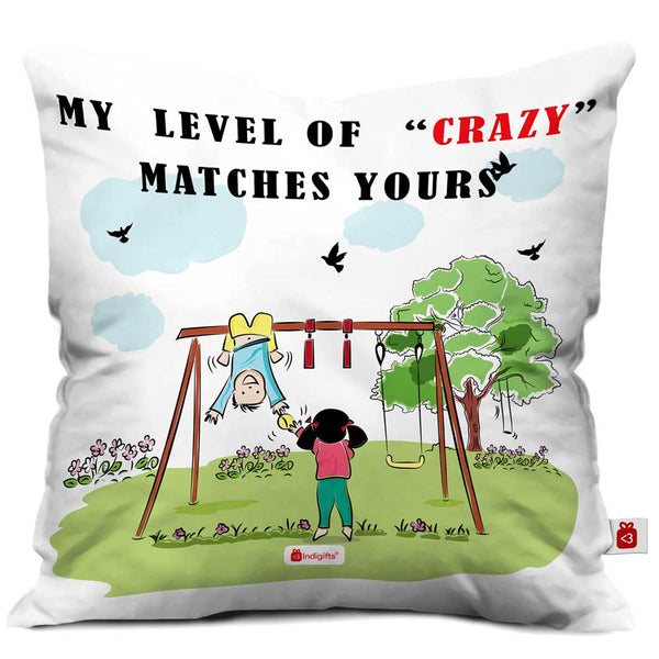 Indigifts Crazy Brother Hanging Upside Down Multi Cushion Cover