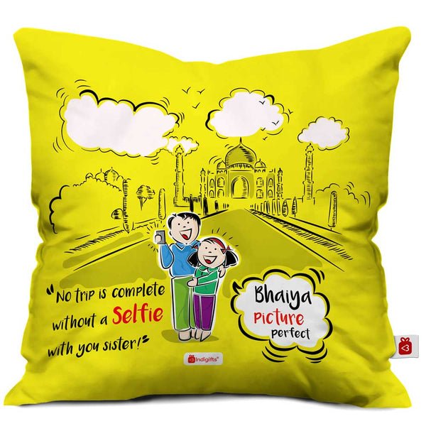 Brother & Sister Taking Selfie Yellow Cushion Cover