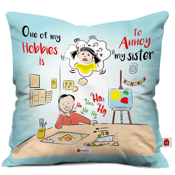 Indigifts Brother Annoying His Sister Blue Cushion Cover
