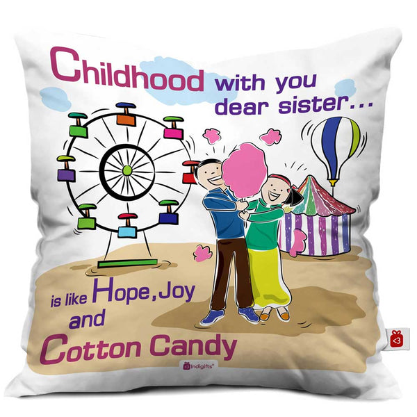 Indigifts Brother and Sister with Cotton Candy Multi Cushion Cover