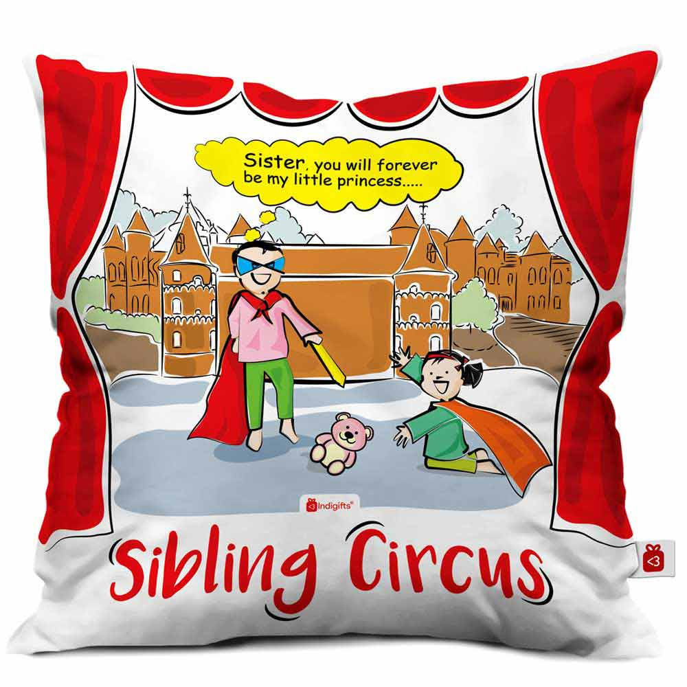 Indigifts Super Brother & Princess Sister Multi Cushion Cover