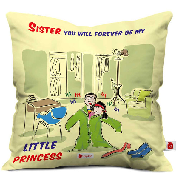 Indigifts Little Sister Wearing Big Brother Clothes Multi Cushion Cover