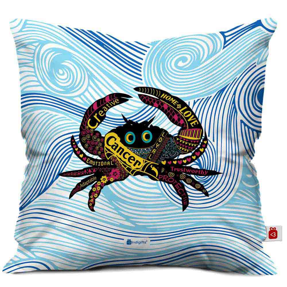 Indigifts Cancer Zodiac Blue Cushion Cover