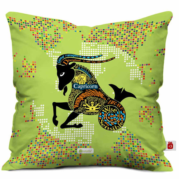 Capricorn Zodiac Green Cushion Cover