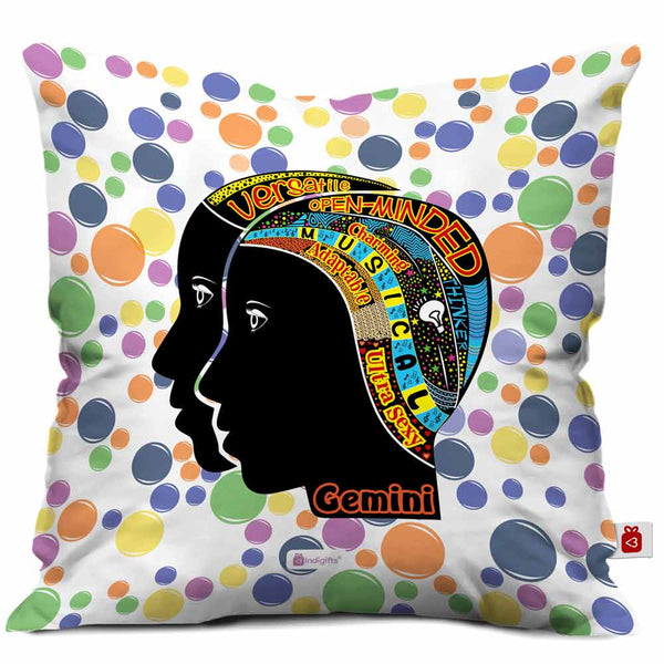 Gemini Zodiac White Cushion Cover