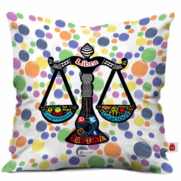 Libra Zodiac White Cushion Cover