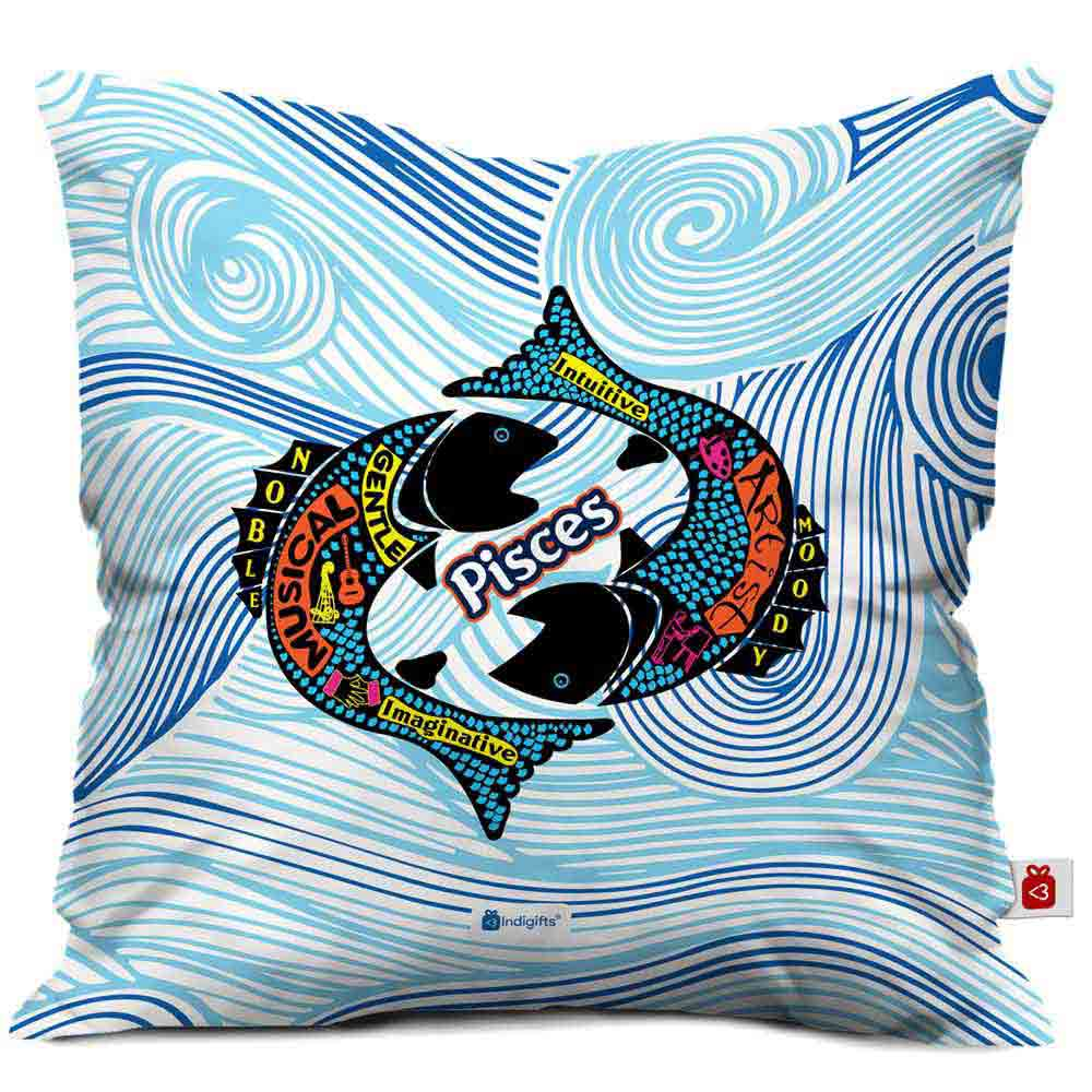 Pisces Zodiac Blue Cushion Cover