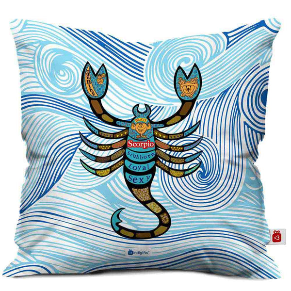 Scorpio Zodiac Blue Cushion Cover