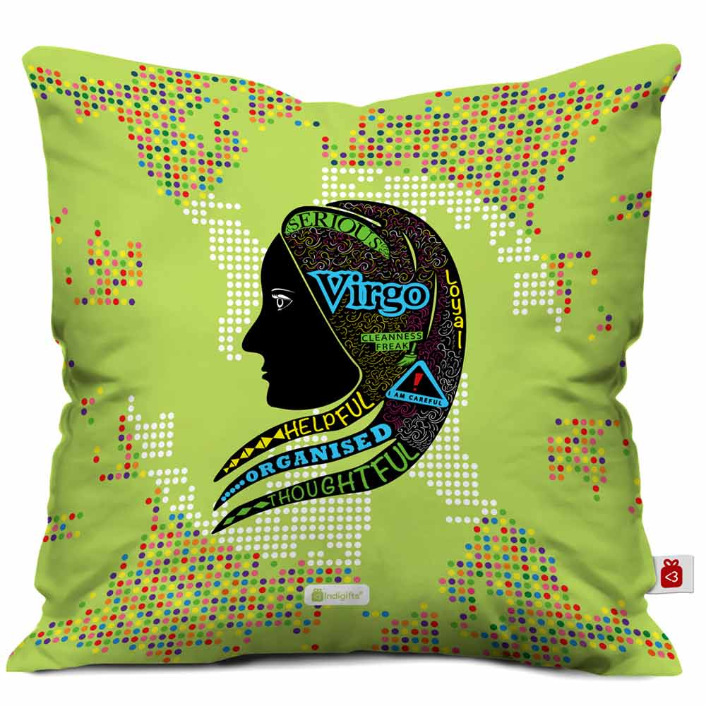 Indigifts Virgo Zodiac Green Cushion Cover