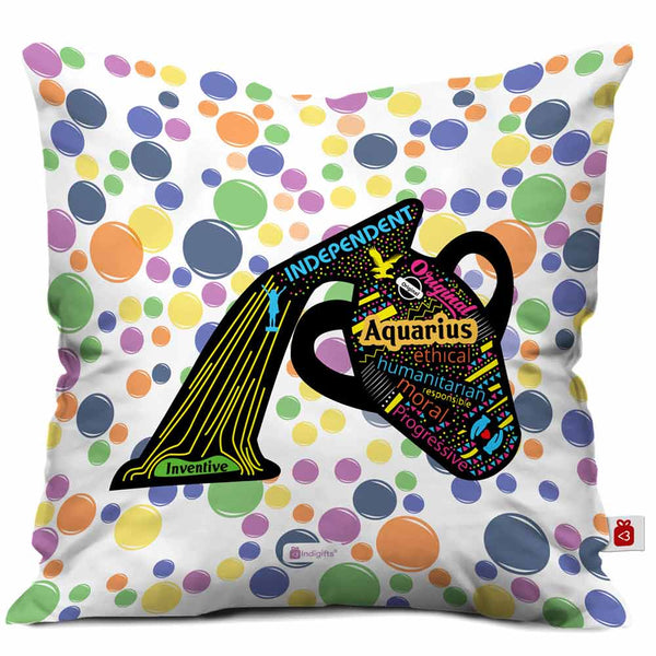 Aquarius Zodiac White Cushion Cover