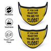If You Can Read This You are Too Close Text Print Yellow Anti-Pollution Nose Mask ( Set of 2 )