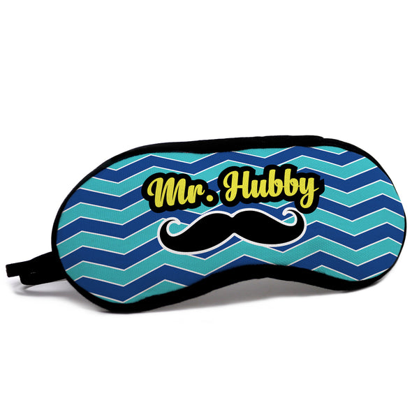 Mr. Hubby Quote Artistic Wavy Pattern with Moustache Blue Eye Mask