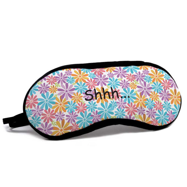 Colorful floral patterns on eye mask
