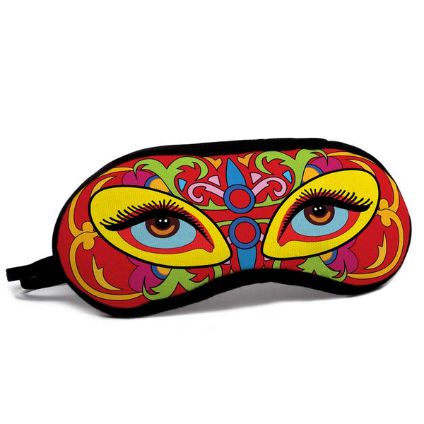 Quirky Deep Eyes Over Truck Art Inspired Background Multi Eye Mask