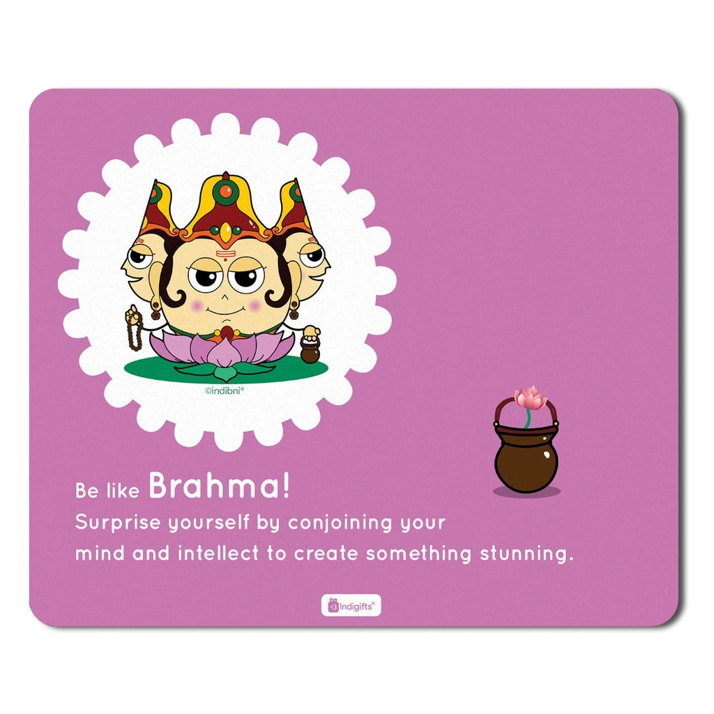 Indigifts Purple Mouse Pad with Lord Brahma Printed