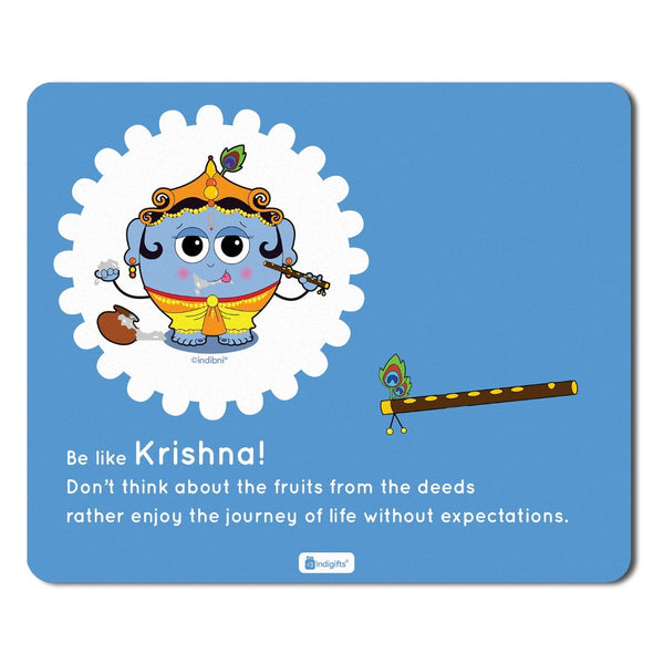 Mousepad for Laptop Be like Krishna Printed Blue Mouse Pad  8.5x7 inches - Printed Mouse Pad ,Religious Gift Items,India Souvenir Gifts