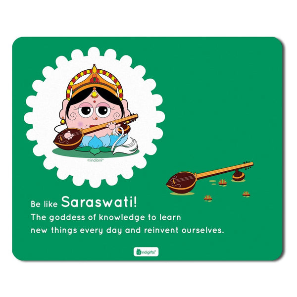 Mousepad for Laptop Be like Saraswati Printed Green Mouse Pad  8.5x7 inches - Souvenir From India, God Gift Items, Diwali Gifts For Family, Friends, Office Colleague