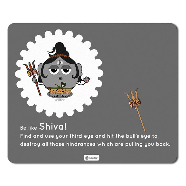 Indigifts Grey Mouse Pad with Lord Shiva Printed