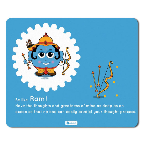 Motivated Quotes Printed Mousepad for Laptop Be like Lord Ram Blue Mouse Pad  8.5x7 inches - Souvenir From India, God Gift Items, Diwali Gifts For Family, Friends, Office Colleague