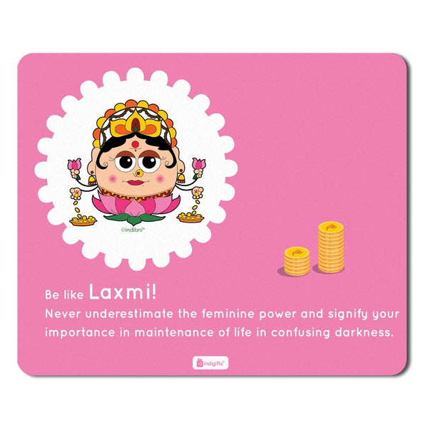 Mousepad for Laptop Be like Laxmi Printed Pink Mouse Pad  8.5x7 inches - Printed Mouse Pad ,Religious Gift Items,India Souvenir Gifts