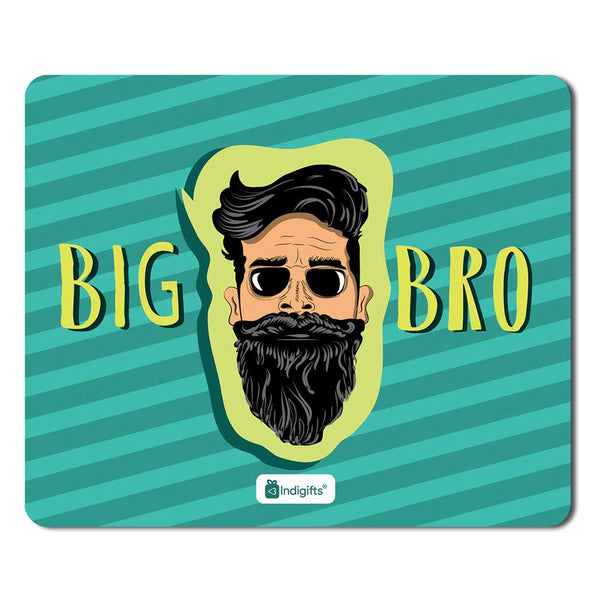 Bearded Brother's Face Hand Illustration Blue Mouse Pad
